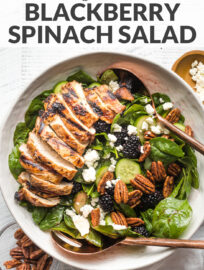 Photo of a large salad with spinach, blackberries, cucumber, and grilled chicken, in a white bowl ready to serve, with overlaid text,