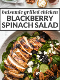 Collage image of ingredients and an assembled blackberry spinach, with the text