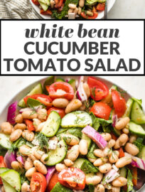 Collage image showing white bean salad in bowls with the text,