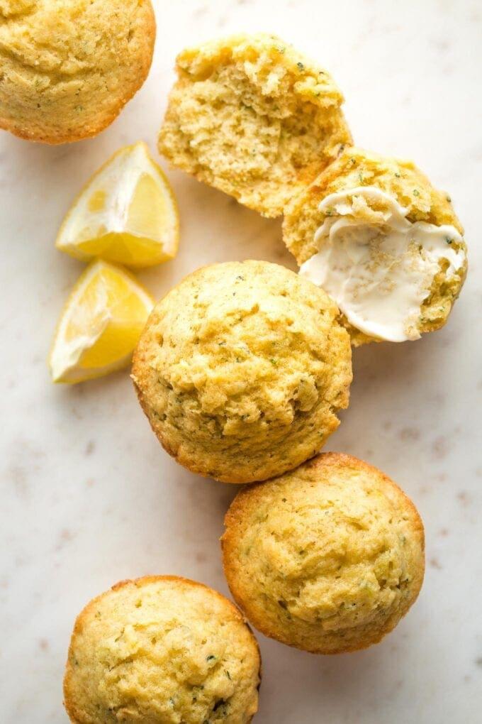 Close-up overhead photo of lemon zucchini muffins.