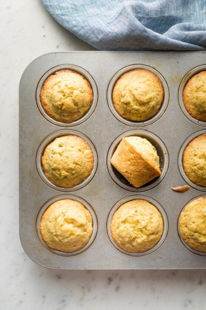 Baked muffins in a tin.