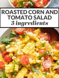 This delicious roasted corn and tomato salad is proof that sometimes simple is best. Just three ingredients and you have the star of every summer dinner, potluck, and barbecue! Vegan and gluten-free.