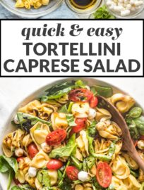 This tortellini Caprese salad is fresh, fast, and full of bright summer flavors! A simple balsamic dressing elevates these classic ingredients. Serve for a fantastic quick lunch or a barbecue side that earns rave reviews.