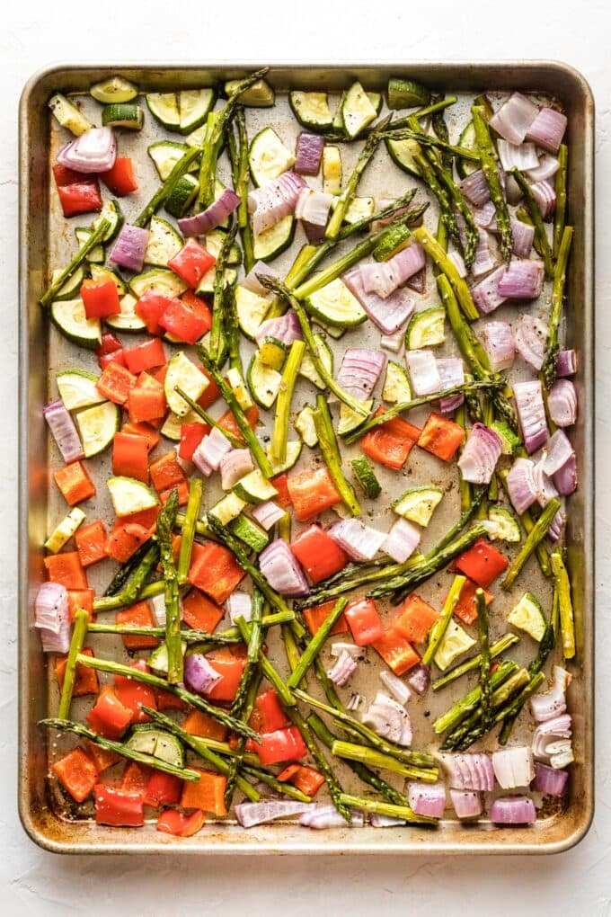 Sheet pan full of just-roasted veggies.