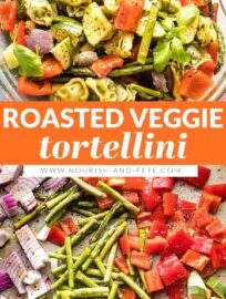 This 30-minute tortellini recipe makes a dreamy summertime dinner! It combines cheese-stuffed tortellini, tender roasted vegetables, and a light basil vinaigrette into a dish full of flavor.