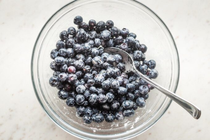 Prep bowl with blueberries, lemon juice, and cornstarch.