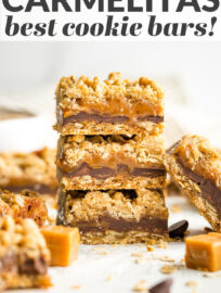 This is the fool-proof easy recipe you need for carmelita bars! AKA the most amazing bar cookies, with layers of soft caramel and chocolate sandwiched in an oatmeal cookie crust, guaranteed to earn rave reviews from everyone, every time!
