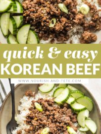These Korean ground beef bowls are outrageously easy to make, ready in 20 minutes, and taste delicious. If you're looking for something new to do with ground beef, this is the answer!