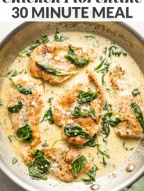 This Creamy Chicken Florentine recipe delivers restaurant quality at home in less than 30 minutes. With tender chicken nestled in a creamy, garlicky white wine sauce, this is one the whole family loves.