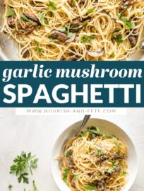 This fast and easy recipe for spaghetti with mushrooms in a simple garlic butter sauce is pure cozy comfort, ready in about 25 minutes! A great vegetarian pasta, perfect for meatless Monday or anyone trying to reduce their meat.
