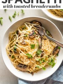 This fast and easy recipe for spaghetti with mushrooms in a simple garlic butter sauce is pure cozy comfort, ready in about 25 minutes!