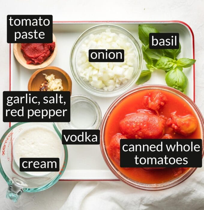Labeled photo of tomato paste, onion, basil, canned whole tomatoes, garlic, salt, red pepper, vodka, and cream measured and arranged in prep bowls.
