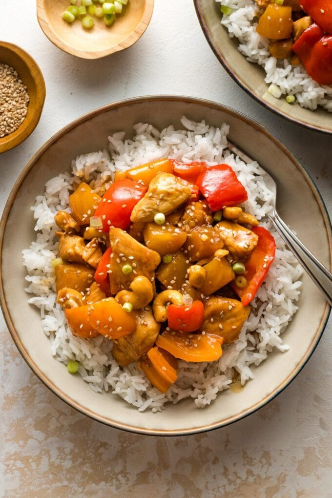 Pineapple chicken served with rice.