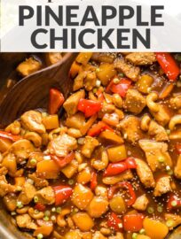 This easy pineapple chicken recipe delivers a simple stir fry of chicken, pineapple, and vegetables coated in a sweet and flavorful sauce everyone loves. Skip the takeout and serve this for a terrific family meal ready in 30 minutes or less!