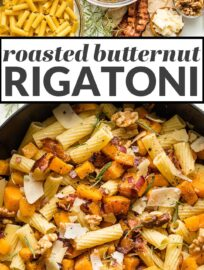 This roasted butternut squash pasta with bacon, rosemary, and Parmesan is delicious, easy to make, and sure to be a new fall favorite.