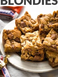 These soft, chewy, chocolate-packed Candy Bar Blondies are an irresistible treat! Imagine a buttery brown sugar blondie base studded with Snickers, Twix, Milky Way, or any or all your favorite treats. Best of all, they're super quick and easy to make: no mixer, one bowl, and minimal prep!