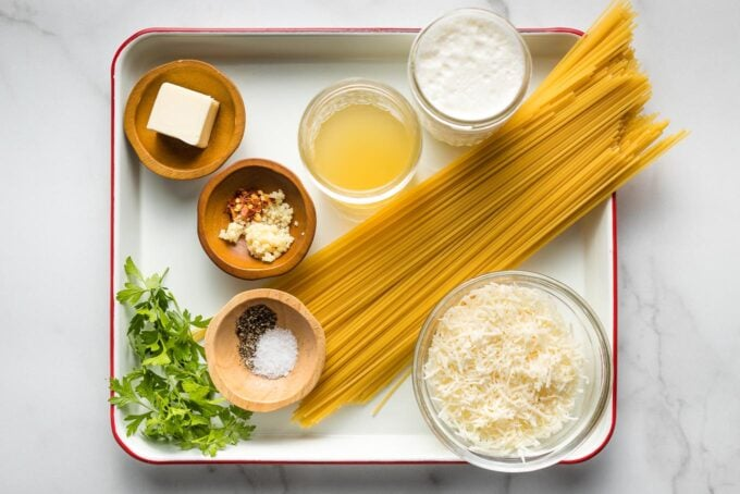 Ingredients arranged on a tray.
