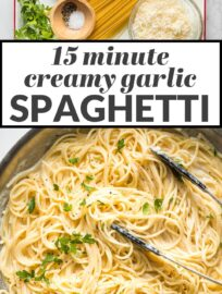 Ready in just 15 minutes, this creamy Garlic Butter Spaghetti is an easy meal the whole family will love. Serve with a big salad and garlic bread, or add your favorite protein to feed a crowd.