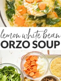 Healthy, hearty, comforting white bean and spinach soup - packed with fresh spinach, orzo, and Italian seasonings - done in under 30 minutes.