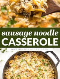 This cozy sausage noodle casserole has egg noodles, pork sausage, and cheese, all wrapped up in a creamy sauce and baked under a crispy breadcrumb topping. This is classic comfort food the whole family will love.