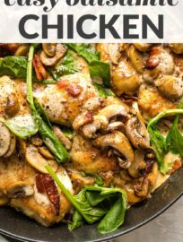 This creamy Balsamic Chicken with Spinach and Mushrooms boasts a rich and tangy pan sauce, crisp salty bacon, and melt-in-your-mouth pieces of chicken. You'll love the taste and how easy it is to make in about 30 minutes.