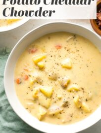 This creamy, flavorful Potato Cheddar Chowder is easy and quick to make in the Instant Pot, but tastes like it simmered all day long. A cold weather family favorite!