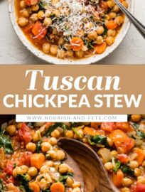 With simple ingredients and bright flavors, this easy Tuscan chickpea stew is a healthy and delicious meatless meal made in about 30 minutes!