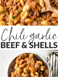 Chili garlic Beef and Shells is incredibly simple, hearty, and comforting. This is a terrific family dinner you can have ready in about 20 minutes.