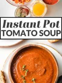Fire roasted tomatoes infuse this Instant Pot tomato soup with a sweet-smoky flavor that's hard to resist! Simmered-all-day taste with minimal effort.