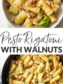 This easy Pesto Rigatoni is perked up with Parmesan, lemon, and buttery toasted walnuts. Easy and fast, but feels a tiny bit elegant at the same time.