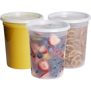 Tall plastic deli storage containers.