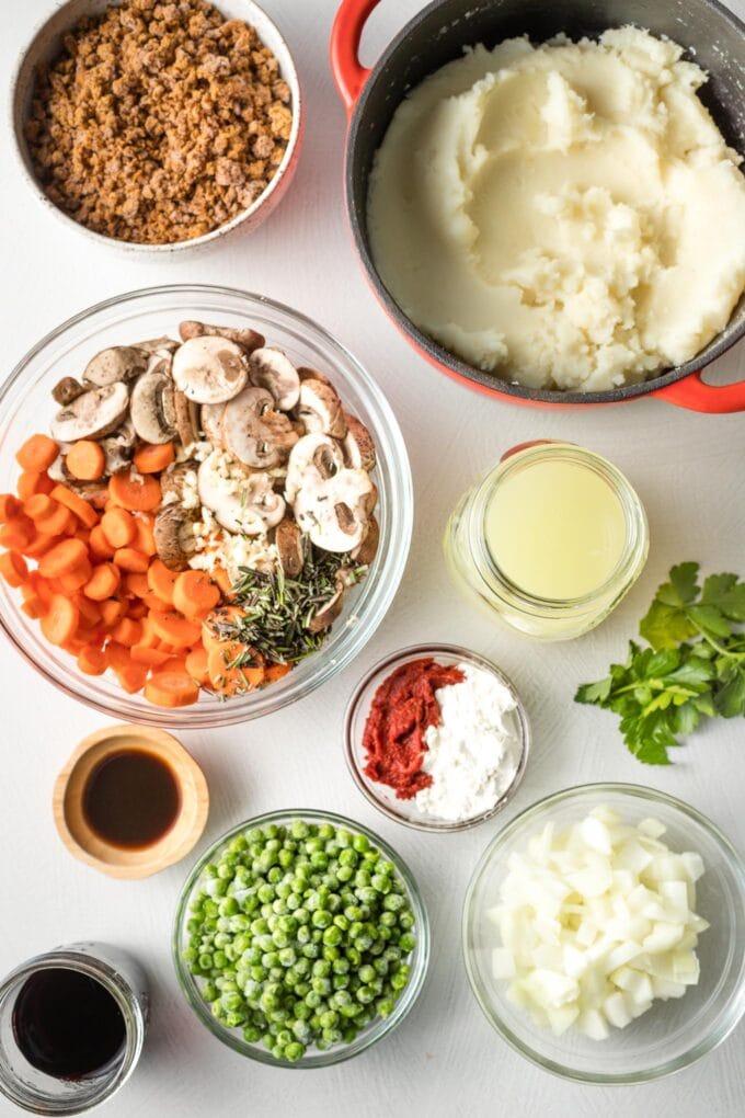 Ingredients in prep bowls.