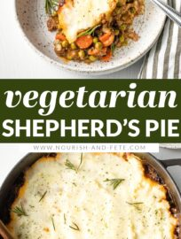 This vegetarian Shepherd's Pie is cozy, healthy, and flavorful. With tender veggies, a rich gravy-like sauce, and a generous layer of mashed potatoes on top, this is the best kind of meatless comfort food.