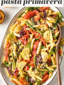This fresh take on Pasta Primavera is loaded with tender-crisp veggies and finished with a light drizzle of lemon and herbs. Ready in less than 30 minutes, and it makes a terrific main dish or side for sharing.