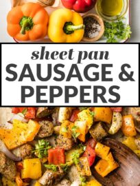 Juicy chicken sausage, crisp veggies, sweet shallots, and a simple dash of Italian seasoning makes this Sheet Pan Sausage and Peppers a quick, healthy dinner everyone will love. Try serving with hoagie rolls or over couscous or your favorite greens.