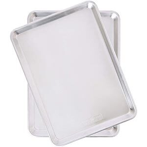 Stainless sheet pans.