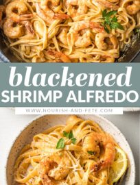 Blackened Shrimp Alfredo is a home-run dish with pan-fried shrimp and tender pasta swimming in a simple yet irresistible cream sauce. You can easily control the heat and have this impressive meal on the table in 30 minutes.