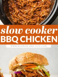 Crockpot BBQ Chicken is the easiest and most delicious you'll EVER make! Tender, easy-to-shred meat, nestled in a sweet, tangy sauce, all done while you go about your day.
