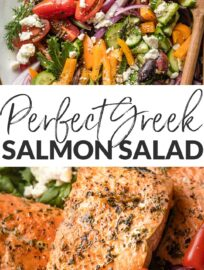 This simple Greek Salmon Salad with pan-seared filets, a rainbow of fresh veggies, and an easy Mediterranean-inspired vinaigrette makes a deliciously feel-good lunch or dinner.