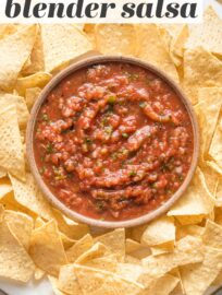 Who wants the best Blender Salsa!? YOU! This is crazy easy to make and perfectly matches the smooth, slightly spicy salsa you love at Mexican restaurants.
