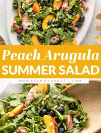 This Peach Arugula Salad is a summer stunner that feels elegant but comes together in no time, perfect for a nice dinner or entertaining!