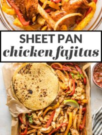 Nothing beats these sheet pan chicken fajitas when you need a simple dinner that makes everyone happy! Tender chicken, flavorful veggies!