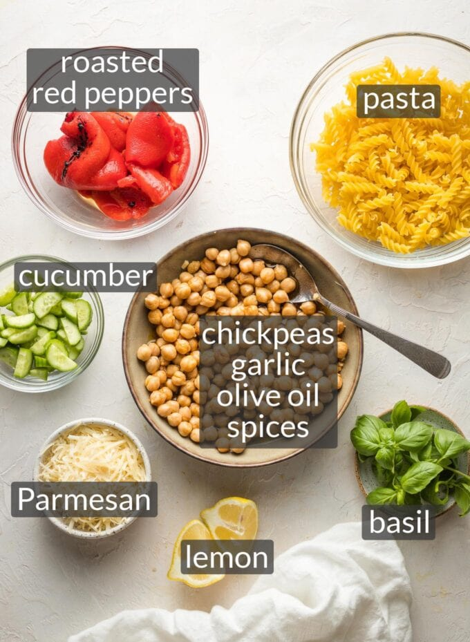 Labeled photo of ingredients in prep bowls: pasta, roasted red peppers, cucumber, chickpeas, garlic, olive oil, spices, basil, Parmesan, lemon.