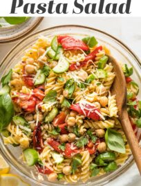 This 20-minute Pasta Salad with Chickpeas is perked up with sweet roasted peppers, crunchy fresh cucumber, and a generous dash of Parmesan and fresh herbs. Serve hot, cold, or room temperature--it makes a great lunch, dinner, or side for sharing!