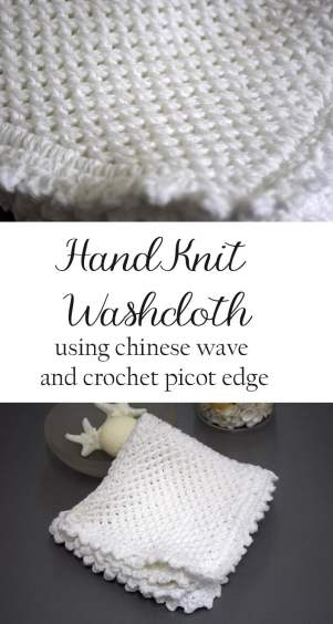 A crocheted and hand knit washcloth pattern using the Chinese Wave Knit Pattern and picot Edging. Perfect for your own home or gift giving. DIY Tutorial.