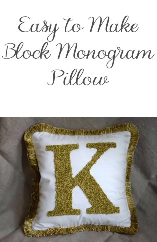 Instructions to make an easy DIY monogram letter pillow using french knots and a simple outline stitch. Perfect for your home decor or gifting.