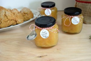 pear jam with spoon