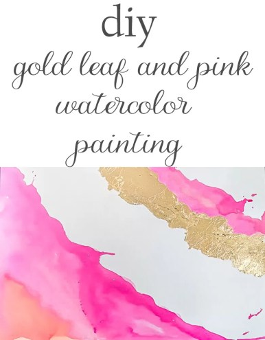 Illustrated instructions, including recommended supplies, to make a DIY watercolor painting with gold leaf embellishment.  Make your own art!