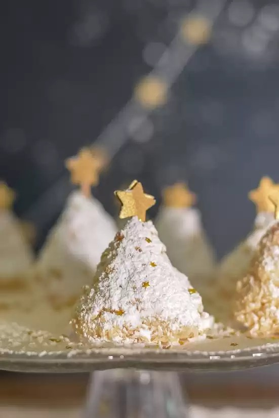 A very easy recipe to make coconut Christmas tree cookies. For added effect, add a dusting of powdered sugar 'snow', some edible glitter and a gold star.