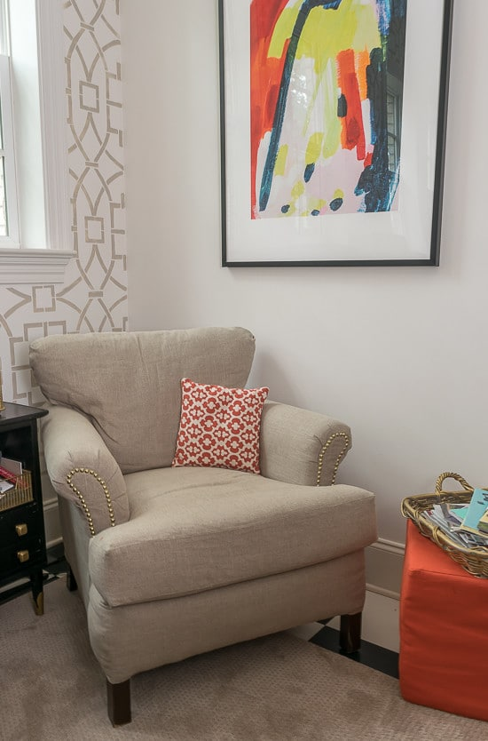 That Minted Artwork! That Cutting Edge Stencilled Wall! That Reupholstered Chair! That Counter Surround! That Coral Cabinet! I can't decide which is my favorite element of this finished One Room Challenge Room!
